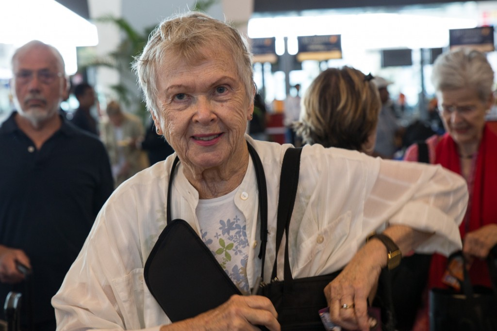 80 year young Doris Clevenger ready to go to Varanasi at IDG Aiport. October 3, 2016 ©robertmoses