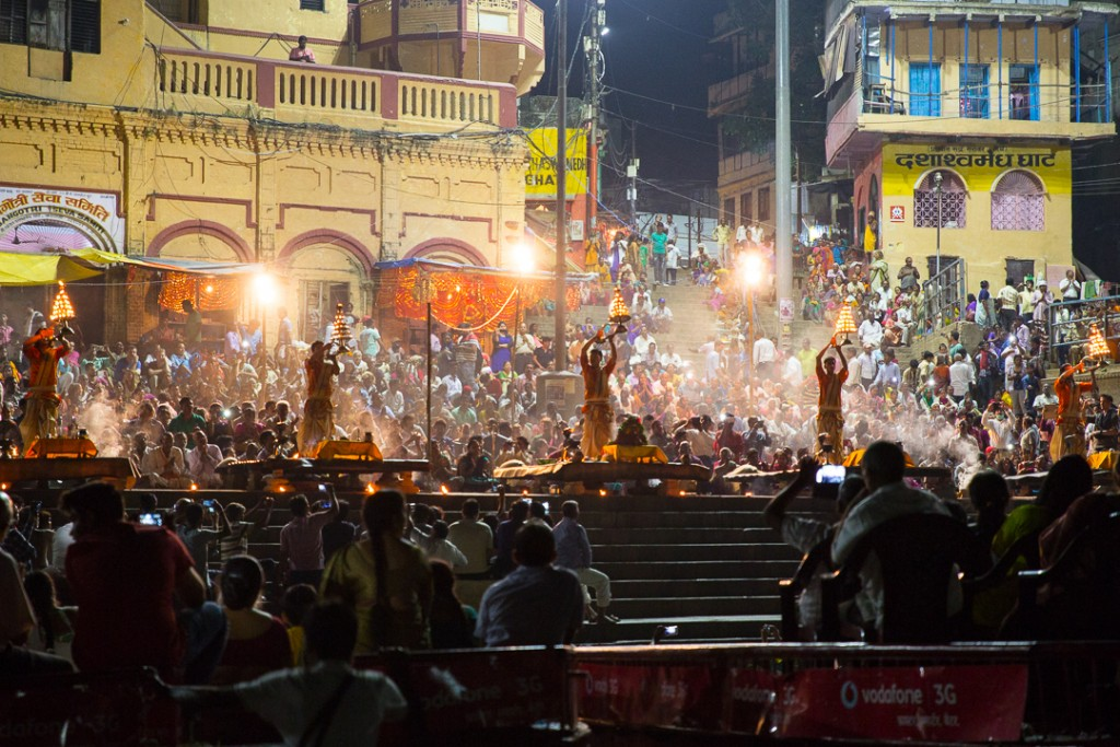 Evening Ganga Arati in Varanasi. October 3, 2016