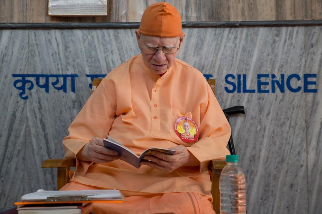 H.H. Sri Swami Vimalananda chanting from the Upanishads. Divine Life Society, Rishikesh.  October 2015. ©robertmoses