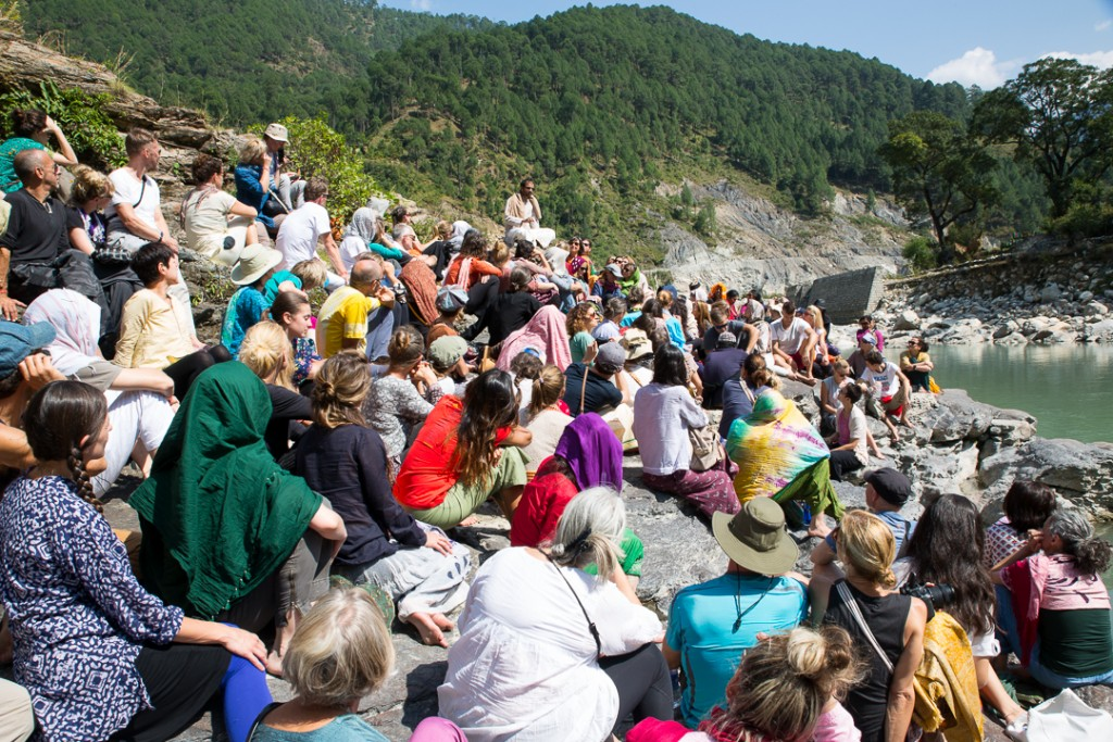 Mahayogi R. Sharath Jois and Ashtanga Yogis alongside Bhagarathi at Netala, Uttarakhand, Himalayas. October 15, 2015. ©robertmoses