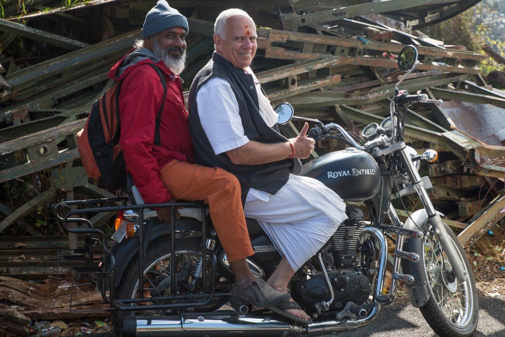 Swami Hariomananda and Robert Moses going nowhere on Om Prakash's Royal Enfield. Uttarakhand, Himalayas. October 17, 2015. ©robertmoses