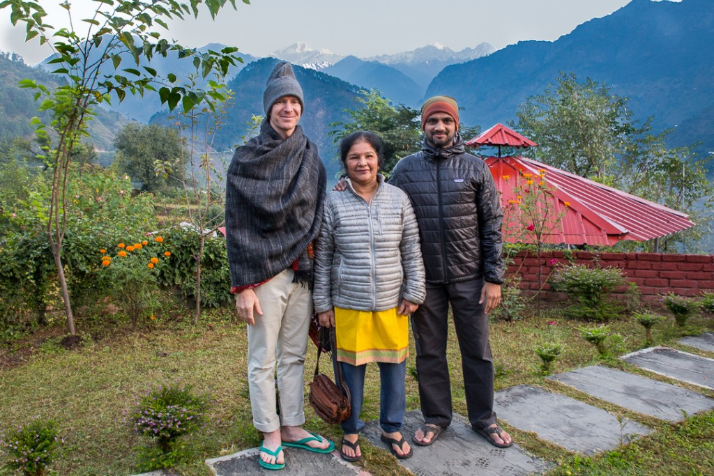 Eddie, Saraswati and Sharath chillin at Char Dham Guptakashi, Uttarakhand, Himalayas. October 18, 2015. ©robertmoses