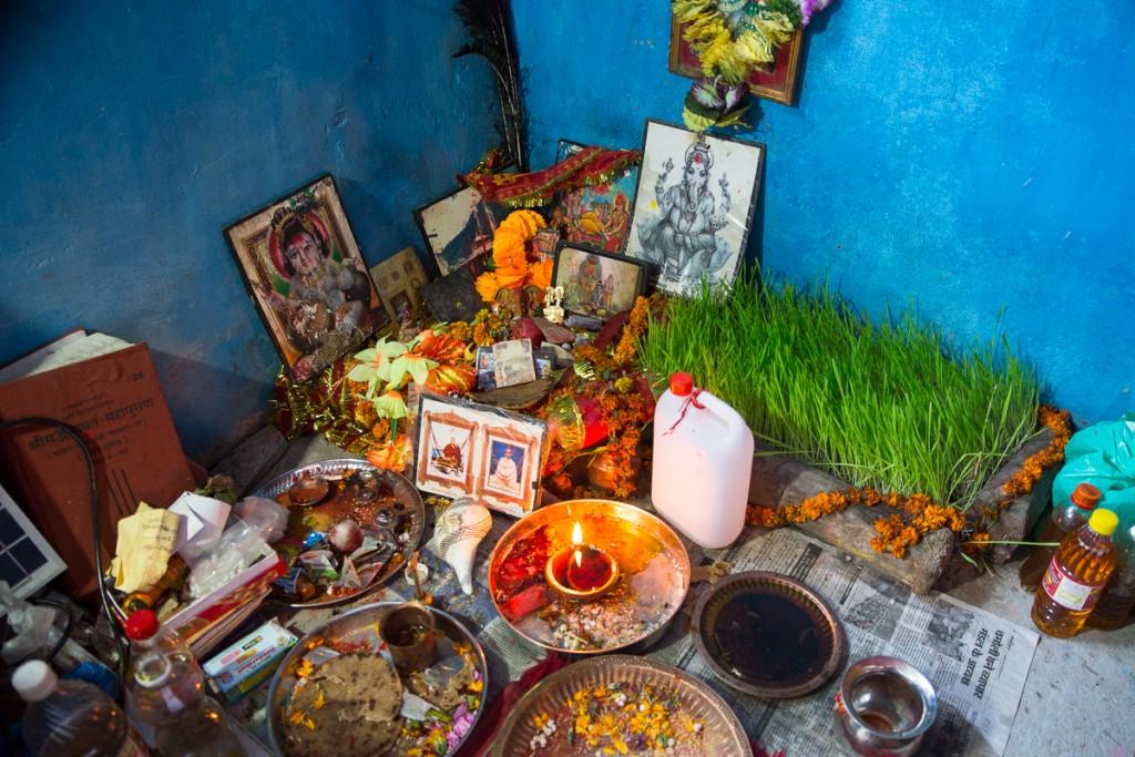 Corner of priest's apartment at Kalimath during Navaratri. October 2015. ©robertmoses
