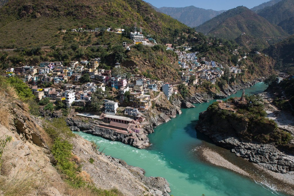 Devprayag, the confluence of the Bhagirathi (white) and Alaknanada (green) Rivers. From there on downstream the waters become known as Ganga. October 2015. ©robertmoses