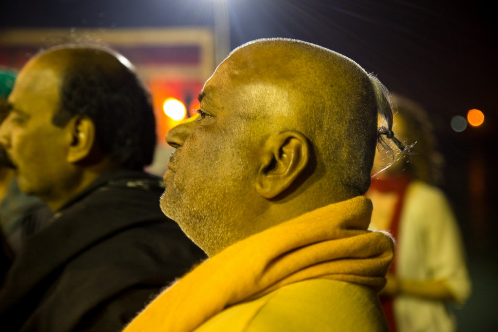 Radhakunda das, our wonderful guide, at Ganga Arati in Rishikesh. October 2015. ©robertmoses