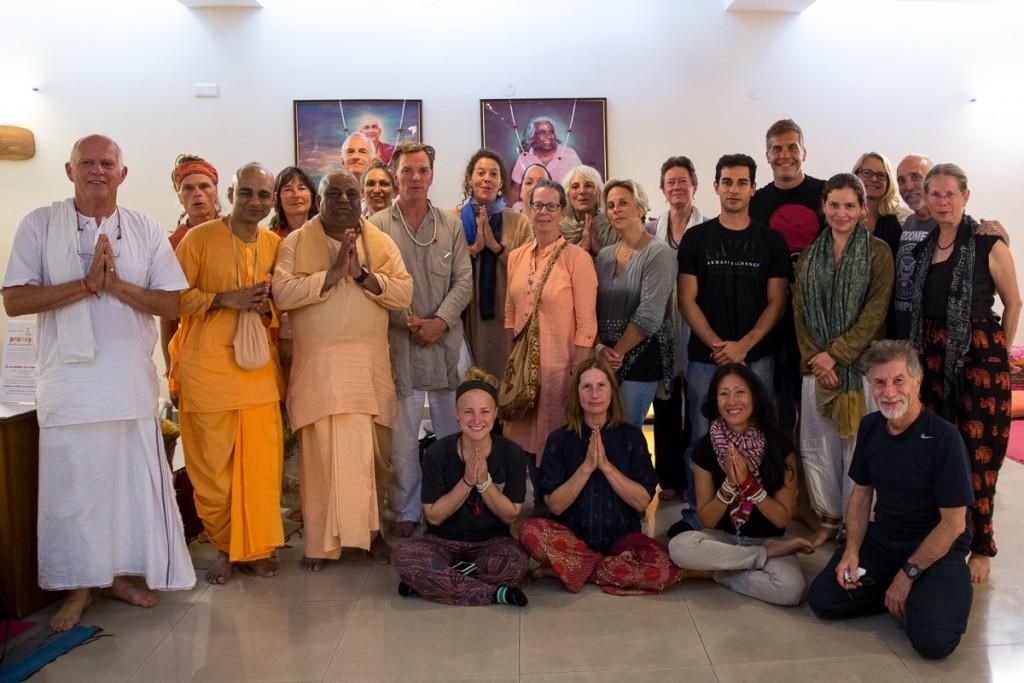 Final group of Yatra 2015 after a Kerala farewell feast hosted by Arun Pandala at Sivananda Yoga Center Gurgaon. October 2015. ©robertmoses