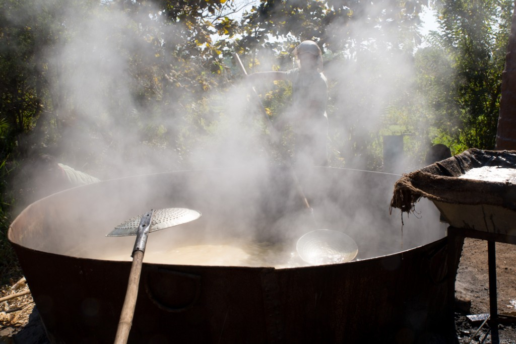 Boiling sugar cane to get jaggery. December 2015. ©robertmoses