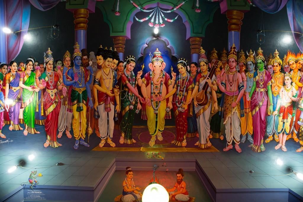 Ganesha's wedding on ceiling at entry.  January 12, 2016. ©robertmoses