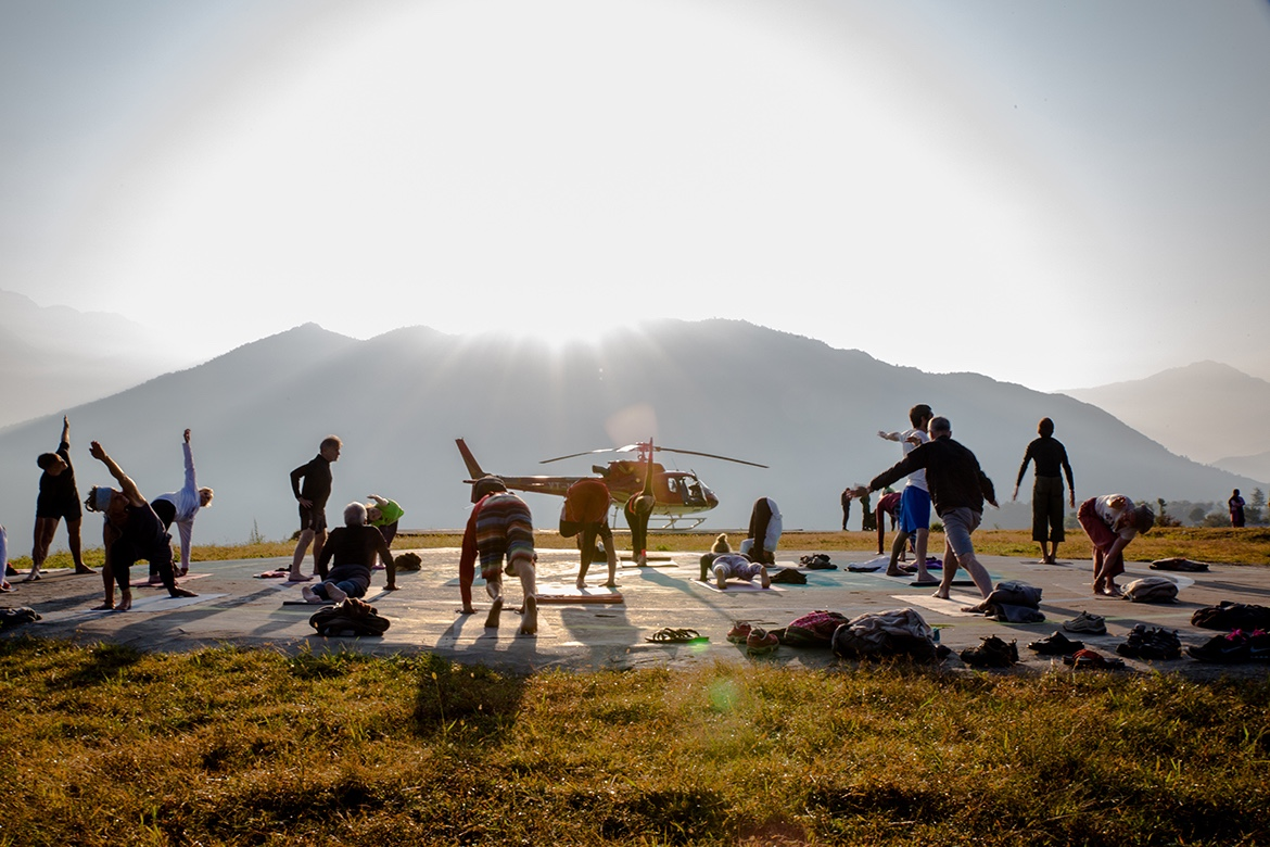 Early morning yoga class at Guptakashi Chardham Camp. Devbhumi Aviation. ©robertmoses