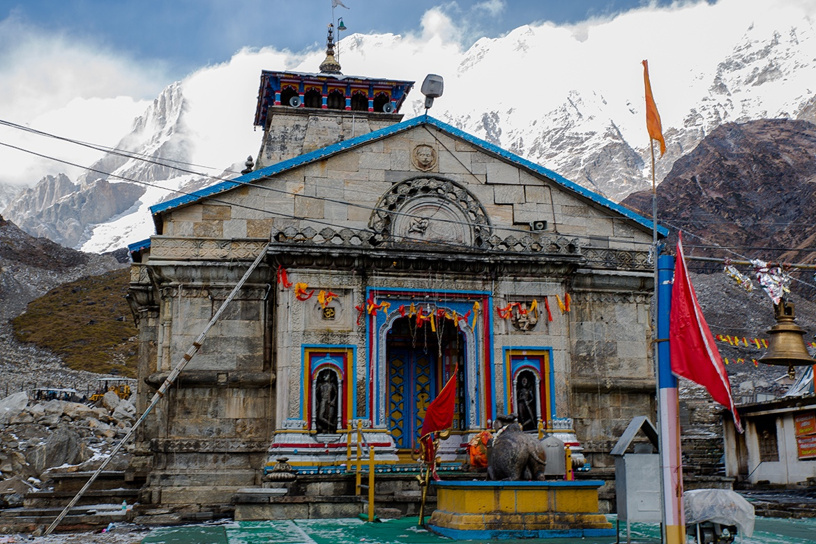 The Temple of Kedarnath, one of the 12 Jyotilingams where Lord Siva manifested on a large triangular shaped lingam. October 2015 ©robertmoses.