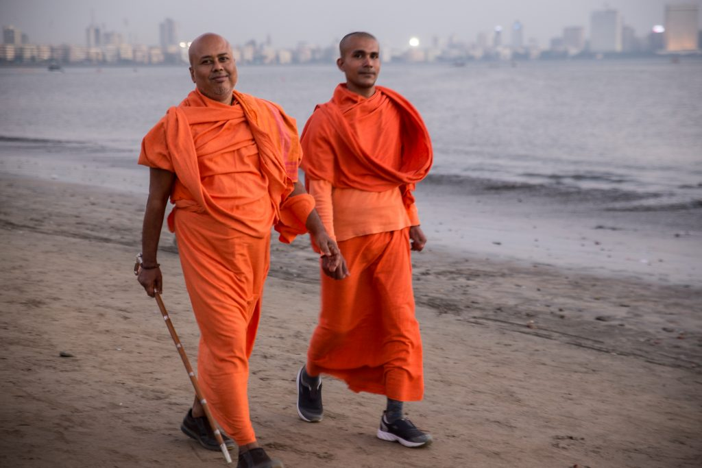 Swamijis out for an evening stroll on Chowpatty Beach. ©robertmoses