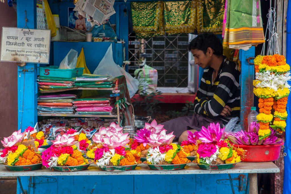 Flower seller at MahaLakshmi Mandir, Mumbai. ©robertmoses