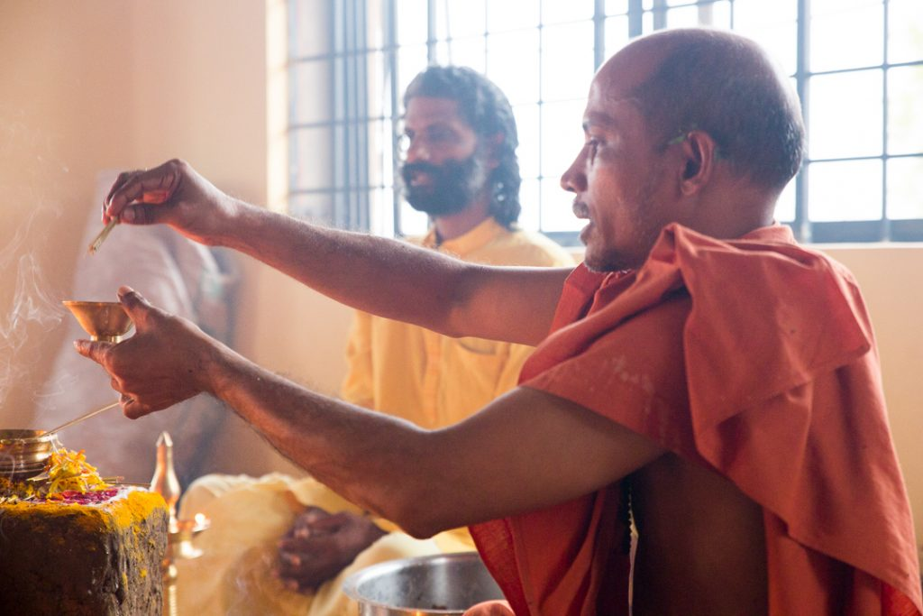 Swami Nivedanananda invokes Ganesha at the start of the Hatha Yoga Intensive. ©robertmoses