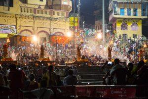 Evening Ganga Arati in Varanasi. October 3, 2016