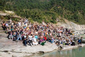 Mahayogi R. Sharath Jois and Ashtanga Yogis alongside Bhagarathi at Netala, Uttarakhand, Himalayas. October 15, 2015. ©robertmoses