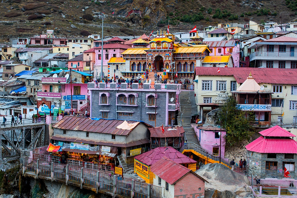 The Temple of Badri Vishal nestled in the sacred town of Badrinath. October 2015 ©robertmoses.